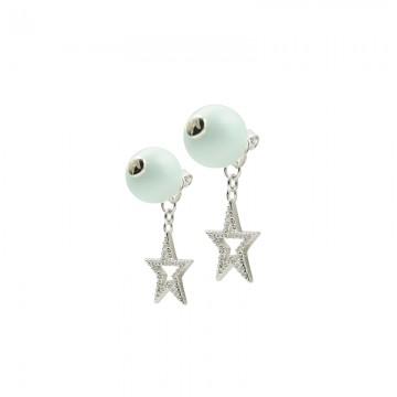 水晶珍珠五角星双面耳钉 白金色