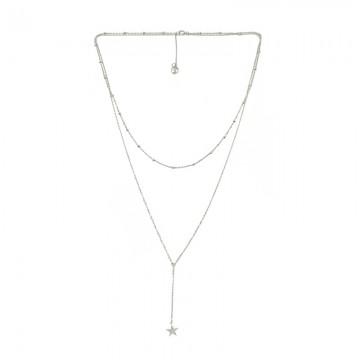 简约星星甜美优雅叠戴项链 白金色