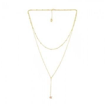 简约星星甜美优雅叠戴项链 黄金色