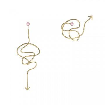EMMA系列缠绕箭头镶钻耳坠 黄金色